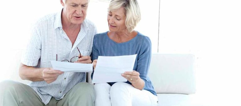 A couple looking at their pension provision (care fees)