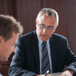 Financial adviser talking with a client