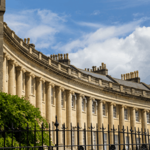 A photograph of a a crescent in Bath.
